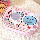 《花花創意会社》外流。粉紅熊熊PU化粧收納盒【H5890】