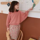 蝙蝠袖上衣+豹紋窄裙 針織兩件套 套裝 女童 針織衫 針織裙 窄裙 豹紋 橘魔法 現貨 兒童 童裝