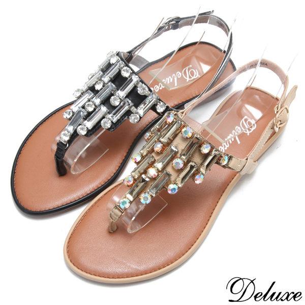 【Deluxe】全真皮氣質典雅晶鑽夾腳涼鞋(米☆黑)