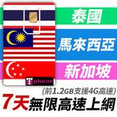 【TPHONE上網專家】馬來西亞/新加坡/泰國 7天無限上網卡 一卡在手3地使用