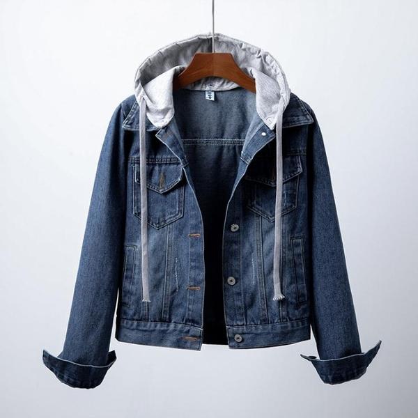 牛仔外套 牛仔短外套女長袖秋冬新款韓版開衫大碼修身顯瘦連帽夾克百搭上衣 風馳