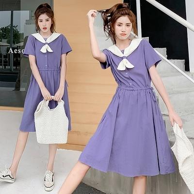 小尺碼洋裝長裙~女學生可愛日系連身裙森系海軍領學院風少女紫色中長裙子DC1F08莎菲娜