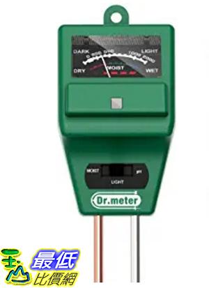 [107美國直購] 土壤測試儀 Dr.Meter Soil Moisture Meter S30, Sunlight PH Acidity 3-in-1 Soil Tester Kit