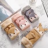女童手套 兒童保暖內刷毛加厚半指翻蓋手套