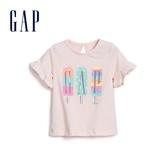 Gap 嬰兒 Logo創意木耳邊短袖T恤 580522-淺粉色