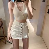 短裙 牛仔半身裙女白色高腰顯瘦包臀短裙2021春季新款裙褲氣質百搭裙子