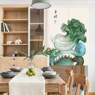可愛時尚棉麻門簾E243 廚房半簾 咖啡簾 窗幔簾 穿杆簾 風水簾 (90寬*150cm高)