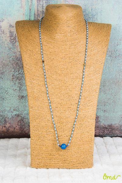 朵菈祈福心長型項鍊 (總長約78公分)108顆施華洛世奇元素原廠藍色水晶珍珠  淺藍色系  ~ OHMYDOG! ~