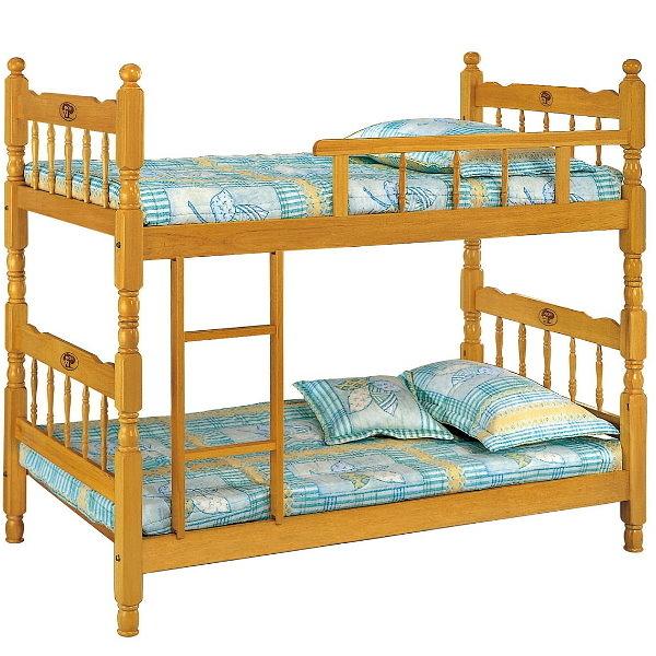 雙層床 AM-363-1 3尺白木單欄雙層床(不含床墊) 【大眾家居舘】