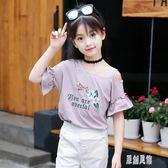女童短袖上衣2019新款夏裝兒童體恤衫泡泡半袖露肩衫女孩刺繡T恤xy1256【原創風館】