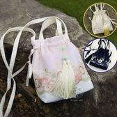 流蘇包手工布藝蕾絲仙女包袋中國復古風漢服包袋流蘇斜背側背手提女包小 【四月新品】
