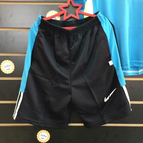 ☆棒棒糖童裝☆(1305藍)夏男大童拼色英文滾邊排汗衫套裝(上衣+褲子) 120-170 台灣製造