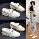 厚底鞋 內增高半拖鞋女鞋夏2021年新款包頭小白單鞋穆勒厚底坡跟涼拖外穿 小天使