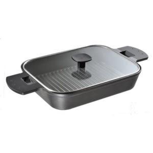 fujidinos-《UCHICOOK》水蒸氣式健康燒烤蒸煮鍋(玻璃蓋款)黑