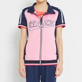 TOP GIRL-撞色剪接休閒短袖外套 -粉