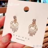 水晶珍珠耳釘高級感百搭珍珠耳環氣質耳飾夏天的耳墜女2019新款潮 歐韓時代