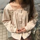 新年鉅惠韓版荷葉邊復古方領純色長袖棉麻襯衫女寬鬆百搭單排扣學生上衣潮 小巨蛋之家