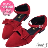 Ann'S可愛造型大蝴蝶結繫帶尖頭平底鞋-紅