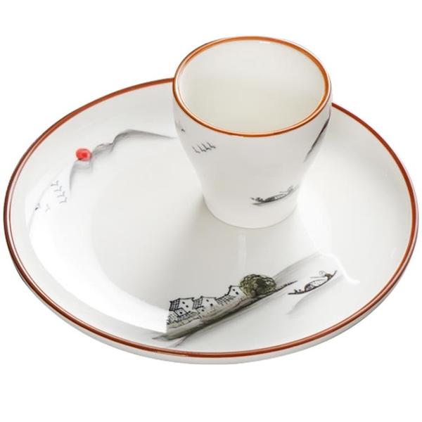 中式陶瓷餐具擺臺飯店餐廳酒店用品釉下彩山水畫盤碗