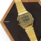 CASIO卡西歐金色方型復古電子錶NEC142