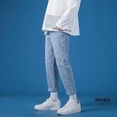 男士牛仔褲春秋款修身直筒九分褲韓版青少年長褲【聚物優品】