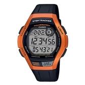 CASIO 新潮流計步器運動電子男錶-黑X金屬橘框(WS-2000H-4A)