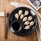 日式創意陶瓷餃子盤 水果盤子家用帶醋碟壽司盤黑色餐具菜盤飯盤   遇見生活