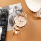 FOSSIL / ES5106 / 三眼三針 羅馬刻度 閃耀晶鑽 星期日期 不鏽鋼手錶 鍍玫瑰金 38mm