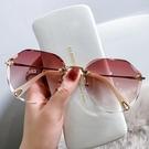 眼鏡 2021年新款時尚無框切邊墨鏡女士網紅款防紫外線太陽眼鏡顯瘦潮女 滿天星