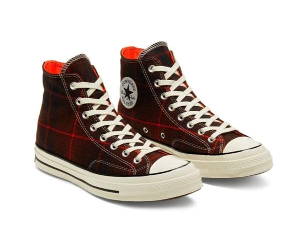 CONVERSE-Chuck 70 男女款紅色英倫復古格子高筒休閒鞋-NO.166495C