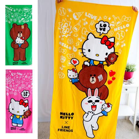 正版 Hello Kitty & LINE 聯名浴巾 毛巾 大毛巾 沐浴巾 海灘巾 大浴巾 熊大 兔兔