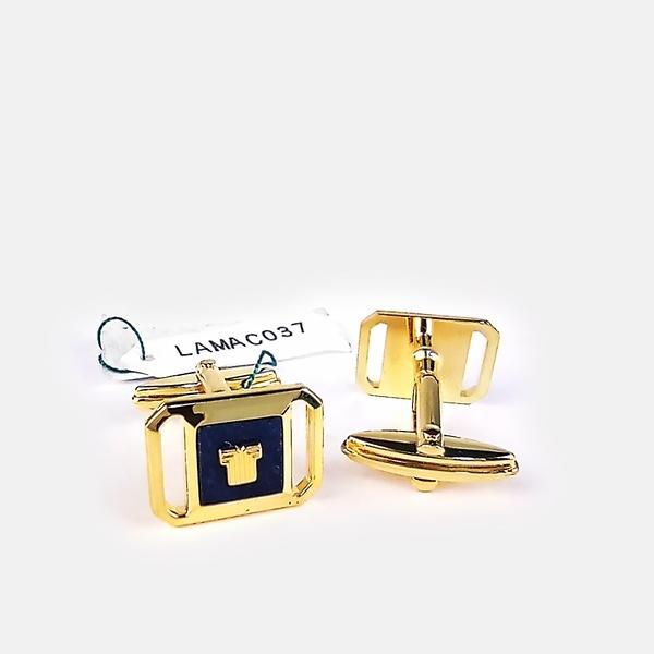 [ NG大放送 ]LANVIN經典LOGO金屬袖扣(藍金色)880062-11
