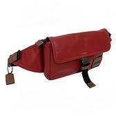 【COACH】專櫃款皮牌LOGO男款斜背腰包(暗紅)