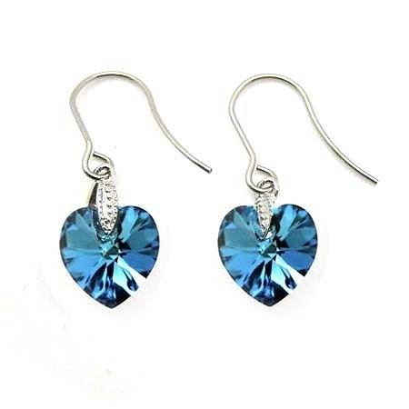 Swaroski藍寶石色水晶心耳環