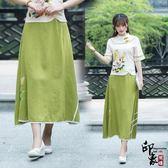 中國風手繪棉麻民族風百搭大擺半身裙