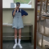 大碼背帶褲胖妹妹mm牛仔寬褲夏季胯大腿粗寬鬆短褲【左岸男裝】