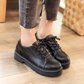 英倫風復古學生單鞋2019春季新款女鞋休閒百搭原宿黑色小皮鞋潮 交換禮物