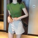 短袖T恤心機女小眾性感短款超a上衣緊身綠色短袖t恤女ins潮純棉抖音同款 貝芙莉