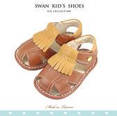 Swan天鵝童鞋-紳士流蘇寶寶涼鞋1515-咖