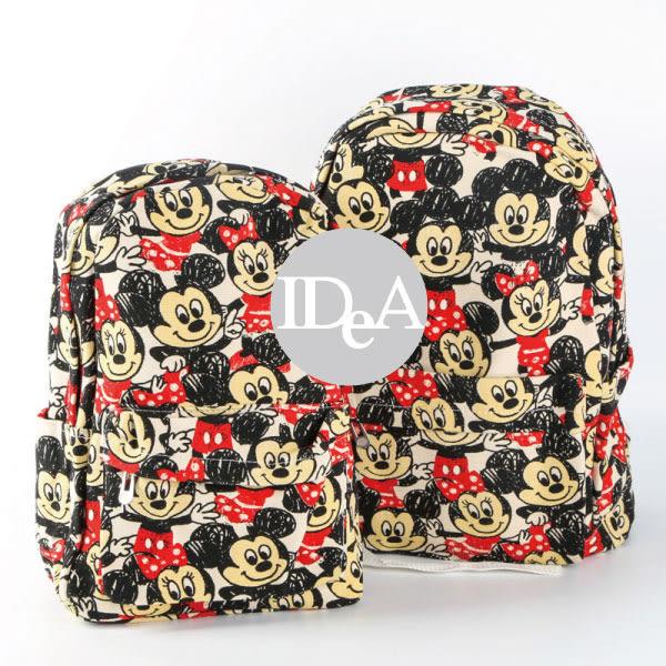 迪士尼 米奇米妮雙肩帆布後背包 運動 媽媽包 書包 練習袋 training bag Disney 全家集點 幼兒童包