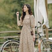 長裙子仙女超仙森系法式復古方領泡泡袖雪紡赫本風碎花洋裝女夏 秋季新品