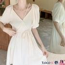 熱賣雪紡洋裝 夏季2021新款茶歇初戀白色雪紡連身裙子設計感小眾大碼女裝微胖mm coco