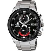 CASIO EDIFICE系列 急速飄移三眼計時賽車腕錶-黑框x銀