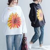 印花大尺碼高領衛衣潮秋冬新款加絨植物文藝寬鬆套頭帽衫慵懶風上衣