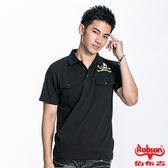 BOBSON 男款骷髏頭鋁片POLO短袖上衣(黑22014-88)