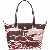 LONGCHAMP Le Pliage Galop 小型馬韁繩圖騰尼龍水餃包(紅梨色) 1840207-05