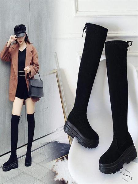 膝上靴 2018秋冬加絨過膝長靴厚底防滑顯瘦彈力靴長筒靴子