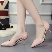 細跟涼鞋歐美夏季新款小貓跟中空尖頭細跟包頭高跟單鞋女6cm mc8292『東京衣社』