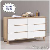 【水晶晶家具】伯妮斯4呎低甲醛木心板六斗櫃 JM8097-5