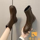 短靴女英倫風馬丁靴平底瘦瘦靴子后拉鏈百搭及踝靴【慢客生活】